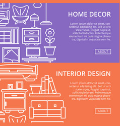 Bedroom interior decoration poster in linear style vector