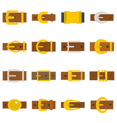 Belt buckles icons set in flat style vector