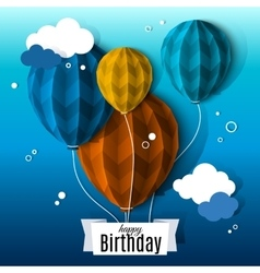 Birthday card with balloons in the style of flat vector image