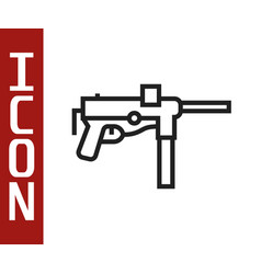 Black line submachine gun m3 grease gun icon vector