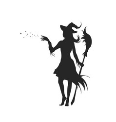 black silhouette witch with hat vector image