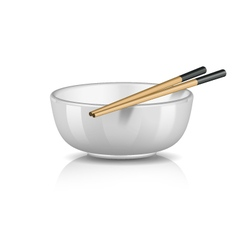 Bowl with chopsticks vector
