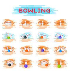Bowling kegling ball and skittles ninepins vector