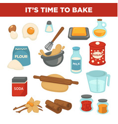 Bread baking ingredients baker tools vector