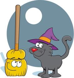 Cartoon Broom and Cat vector