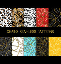 chains patterns collection chain seamless vector image