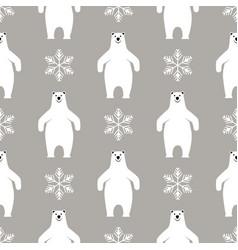 Christmas seamless pattern polar bear on gray vector