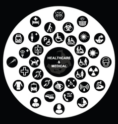 Circular Medical and health care Icon collection vector