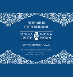 classic blue invitation card vector image