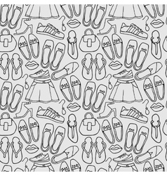 Clothes and shoes outline pattern doodle vector image