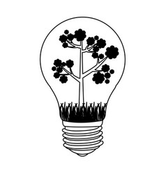 contour bulb with tree inside icon vector image