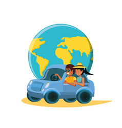 Couple driving tourism little car with world vector