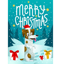 Cute dog with holiday gifts and merry christmas vector