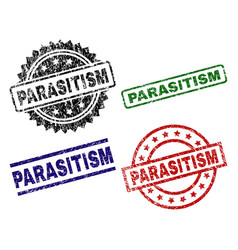damaged textured parasitism seal stamps vector image