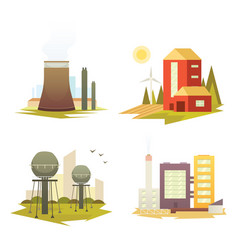 different industrial factory buildings and plants vector image