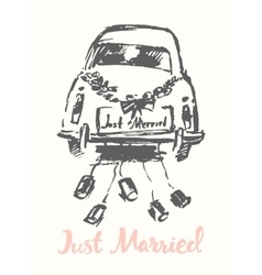 drawn bride groom old fashioned car sketch vector image