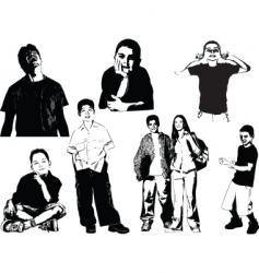 Eight teenagers vector