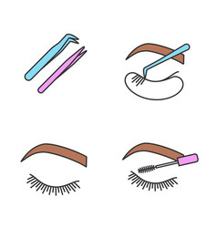 eyelash extension color icons set vector image