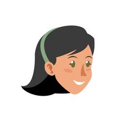 Face woman head smile short hair diadem vector