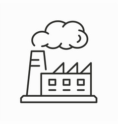 factory line icon on white background vector image