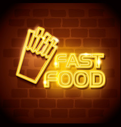 Fast food french fries neon label vector