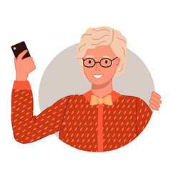 Figure old happy woman glasses vector