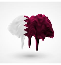 Flag of Qatar painted colors vector