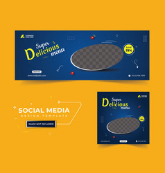 Food promotion facebook cover post template vector