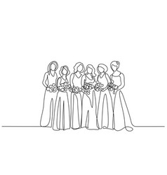friends of fiancee women standing with flowers vector image
