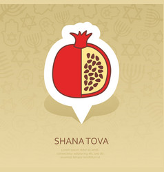 Garnet rosh hashanah pin map icon shana tova vector