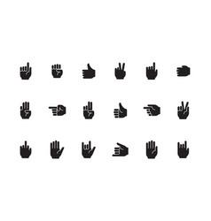 gestures symbols human hands palm fingers zero vector image