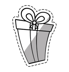 Gift box ribbon new package linea shadow vector