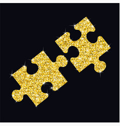 glitter golden puzzle vector image