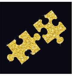 glitter golden puzzle vector image