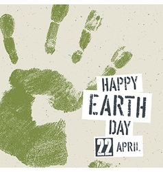 Go Green Concept Poster Handprint on recycled vector image