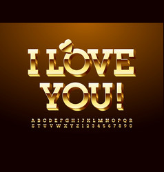 Greeting card i love you gold alphabet set vector
