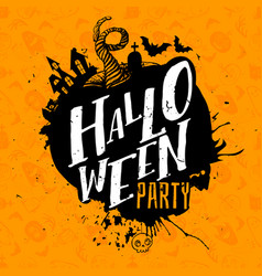 Halloween party lettering on pattern vector