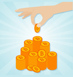 hand laying golden bitcoins to staircase vector image