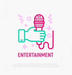 hand with microphone thin line icon vector image