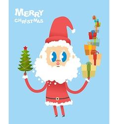 Happy Christmas Cute Santa Claus holding many vector