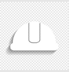 hardhat sign white icon with soft shadow vector image vector image