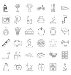 health icons set outline style vector image