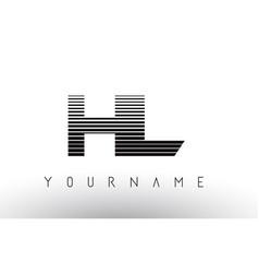 Hl h l black and white horizontal stripes letter vector