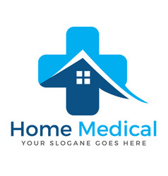 Home and medical cross logo design vector