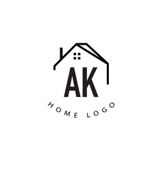 Initial letter ak home creative logo design vector