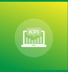 Kpi icon with laptop and analytic graph vector