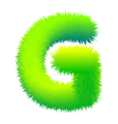 letter g fluffy fur texture decorative green vector image