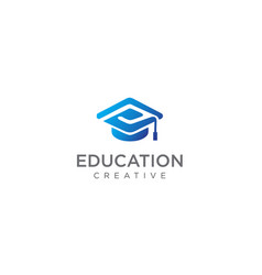 letter p toga hat education logo design stock vector image