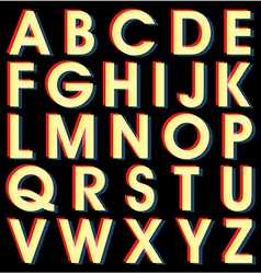 Light Alphabet on black background vector image