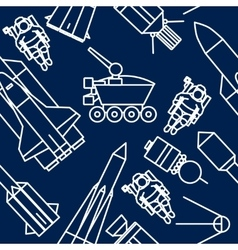 Linear set icons relating to space exploration vector